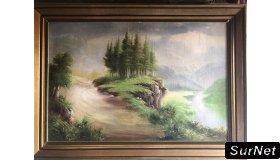 Peinture huile sur toile signé